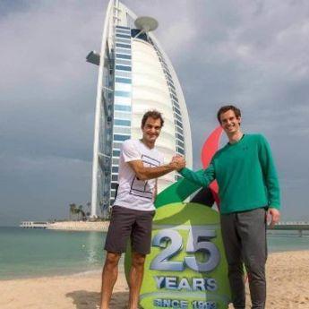 Zagrevanje pred turnir: Marej i Federer igraju tenis na plaži
